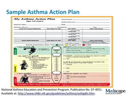 Asthma action plans putting them to use transcript for My asthma action plan template