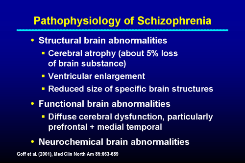 pathophysiology of schizophrenia and dementia Schizophrenia is a psychotic disorder (or a group of disorders) marked by severely impaired thinking, emotions, and behaviors schizophrenic patients are typically unable to filter sensory stimuli and may have enhanced perceptions of sounds, colors, and other features of their environment.