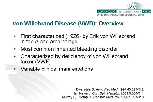 von Willebrand Disease-Pharmacist Role to Better Patient