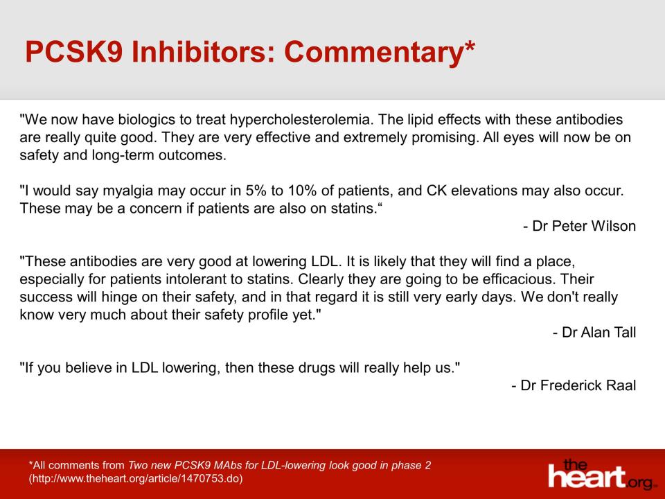 PCSK9 inhibitors (three recent phase 2 studies with