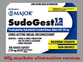 Sudogest 12-hour 120 mg tablet,extended release