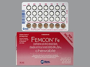 Femcon Fe 0.4 mg-35 mcg (21)/75 mg (7) chewable tablet
