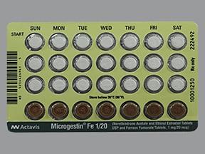 Microgestin FE 1/20 (28) 1 mg-20 mcg (21)/75 mg (7) tablet