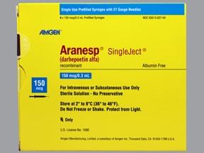Aranesp 150 mcg/0.3 mL (in polysorbate) injection syringe