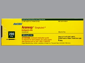 Aranesp 200 mcg/0.4 mL (in polysorbate) injection syringe