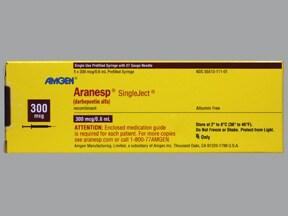 Aranesp 300 mcg/0.6 mL (in polysorbate) injection syringe