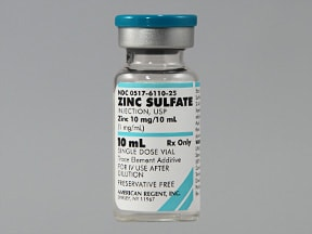 zinc sulfate 1 mg/mL intravenous solution