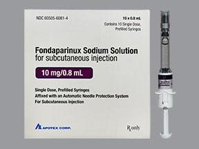 fondaparinux 10 mg/0.8 mL subcutaneous solution syringe