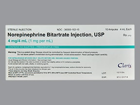 norepinephrine bitartrate 1 mg/mL intravenous solution