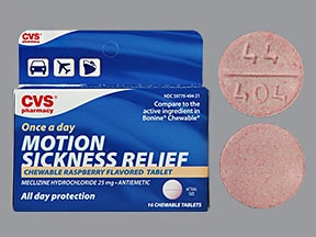 Motion Sickness Relief (meclizine) 25 mg chewable tablet