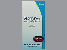 Saphris (black cherry) 5 mg sublingual tablet