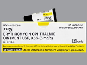 erythromycin 5 mg/gram (0.5 %) eye ointment