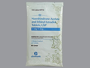 norethindrone acetate-ethinyl estradiol 1 mg-5 mcg tablet