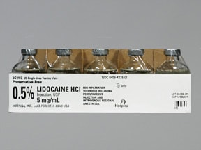 lidocaine (PF) 5 mg/mL (0.5 %) injection solution