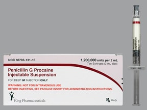 penicillin G procaine 1.2 million unit/2 mL intramuscular syringe