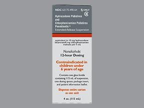 hydrocodone 10 mg-chlorpheniramine 8 mg/5 mL oral susp extend.rel 12hr