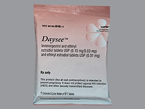 Daysee 0.15 mg-30 mcg (84)/10 mcg(7) tablets,3 month dose pack