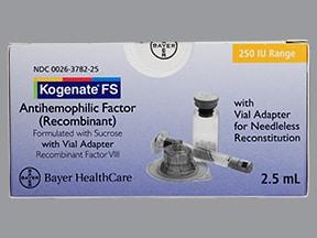 Kogenate FS 250 (+/-) unit intravenous solution