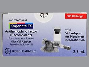 Kogenate FS 500 (+/-) unit intravenous solution