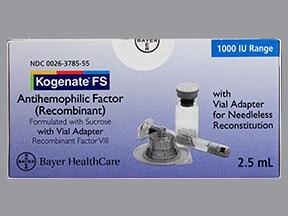 Kogenate FS 1,000 (+/-) unit intravenous solution