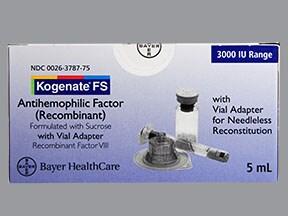 Kogenate FS 3,000 (+/-) unit intravenous solution