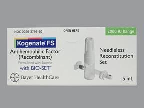 Kogenate FS 2,000 (+/-) unit intravenous solution
