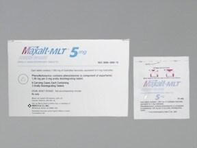 Maxalt-MLT 5 mg tablet dissolved on the tongue