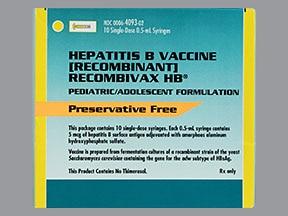 Recombivax HB (PF) 5 mcg/0.5 mL intramuscular syringe