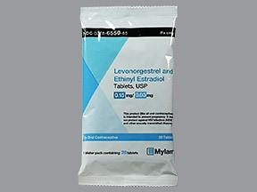 levonorgestrel 0.15 mg-ethinyl estradiol 0.03 mg tablet