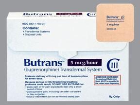 Butrans 5 mcg/hour transdermal patch