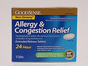 Allergy and Congestion Relief 10 mg-240 mg tablet,extend release 24 hr