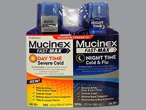 Mucinex Fast-Max Day Sev Cold-Nite Cold-Flu 10 mg-650 mg/20 mL liquid