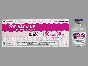 ropivacaine (PF) 5 mg/mL (0.5 %) injection solution