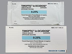 Timoptic Ocudose (PF) 0.25 % eye drops in a dropperette