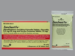 Zenchent Fe 0.4 mg-35 mcg (21)/75 mg (7) chewable tablet