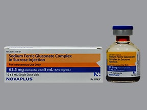 sodium ferric gluconate complex in sucrose 62.5 mg/5 mL intravenous