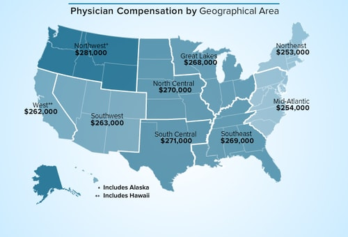 Medscape Physician Compensation Report - Map of medical schools in the us