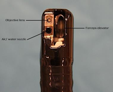 View of duodenoscope tip. Note that elevator is in