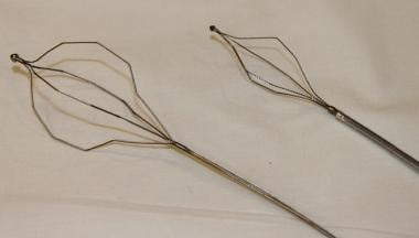 Two different sizes of biliary stone baskets.