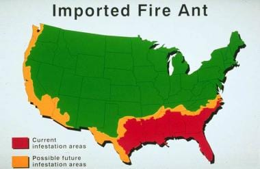 Fire Ant Bites Background Pathophysiology Epidemiology - Map of where fire ants are found in the us