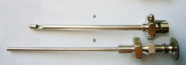 Abrams needle (A) outer cannula with trocar point