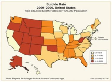 Suicide Rates In The United States By Region 2000