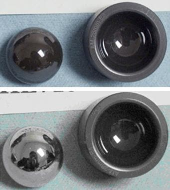 Silicon nitride bearings before (top) and after (b