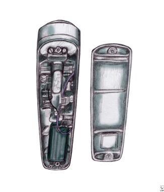 Internal components of an electrolarynx.