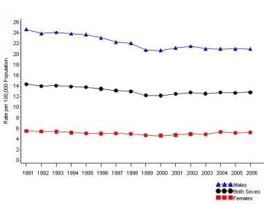 From 1991-2006, the suicide rate was consistently