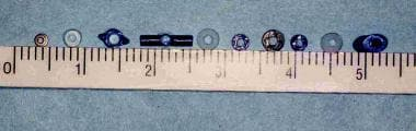 Various tympanostomy tube styles and sizes.