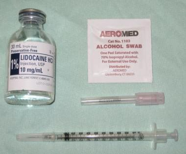 Partial selection of equipment required for IV can