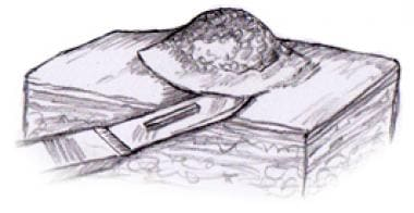 Illustration of a shave biopsy being performed.