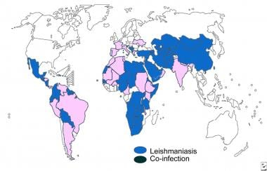 Distribution map of visceral leishmaniasis.
