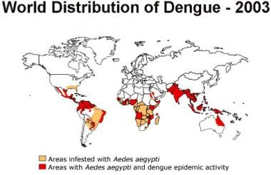 Worldwide distribution of dengue in 2003. Picture